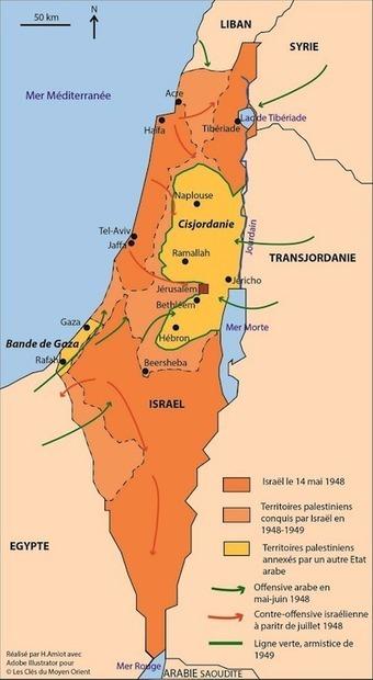 Retour cartographique sur le conflit israélo-arabe. Première partie : des prémices du conflit israélo-palestinien à la première guerre israélo-arabe - Les clés du Moyen-Orient | ECS Géopolitique de l'Afrique et du Moyen-Orient | Scoop.it