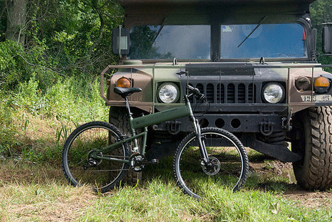 Montague Paratrooper folding bike with a hummvee | Military Style Stuffs | Scoop.it