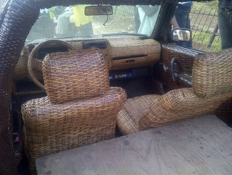 Nigerian Artisan Covers Car in Woven Raffia Palm Cane to Advertise His Business | Strange days indeed... | Scoop.it