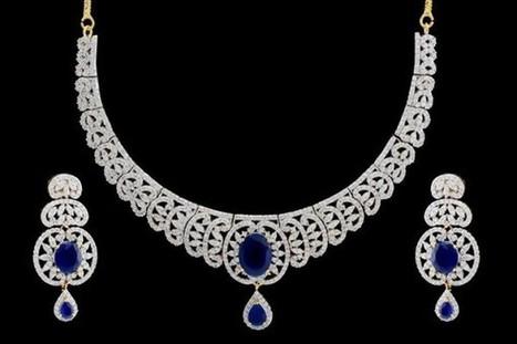 American Diamond Bridal Set- Deep Blue Charm | Gifting Zone | Scoop.it