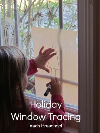 Holiday window tracing | Learn through Play - pre-K | Scoop.it