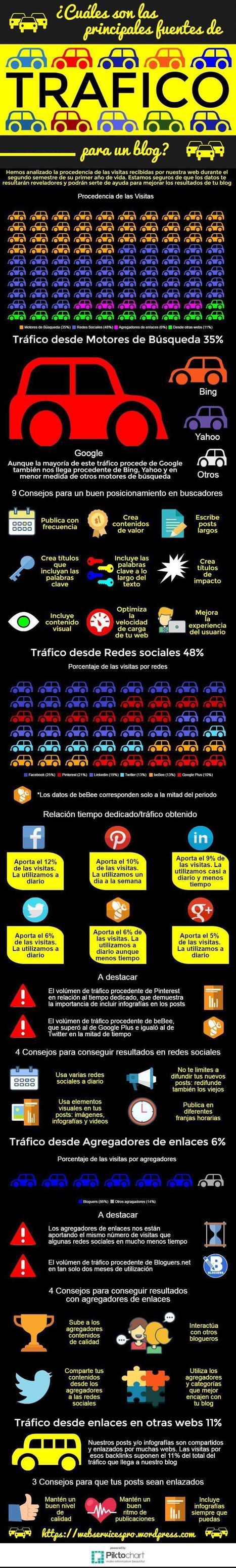 Principales fuentes de tráfico para un Blog #infografia #infographic #socialmedia | Educacion, ecologia y TIC | Scoop.it