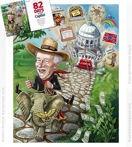 Caricature Illustration: Arkansas Governor Asa Hutchinson for the TBP Magazine. | Caricatures | Scoop.it