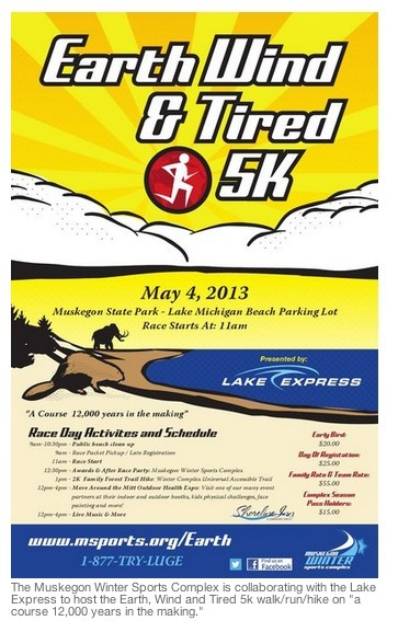 Prehistoric 'Earth, Wind and Tired 5K' race coming to the Muskegon Winter Sports Complex in May | Lake Effect... Relax, Refresh, Repeat! | Scoop.it