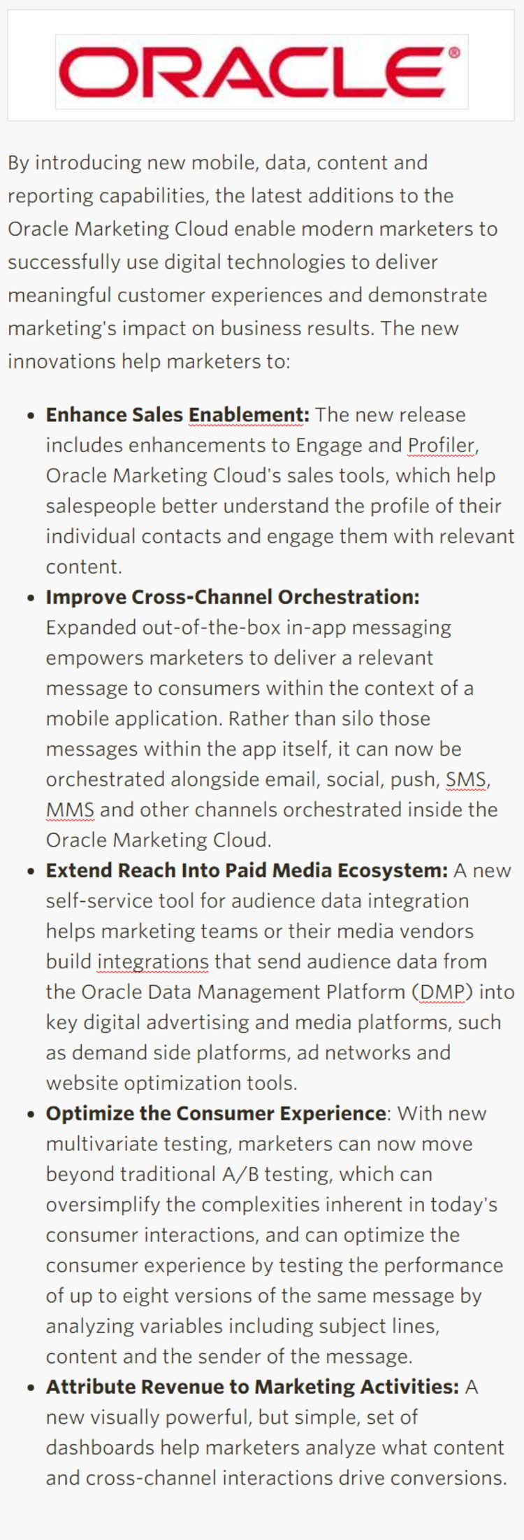 New Oracle Marketing Cloud Enhancements - Oracle   The Marketing Technology Alert   Scoop.it