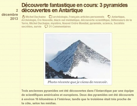 Des pyramides en antarctique? | NLMR | Désinformation | Scoop.it