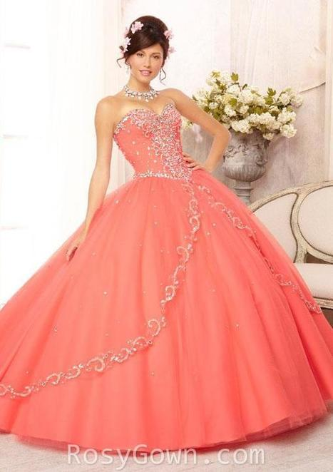 Coral Strapless Embroidered Beaded Tulle Quinceanera Dress | Cheap Prom Dresses | Scoop.it