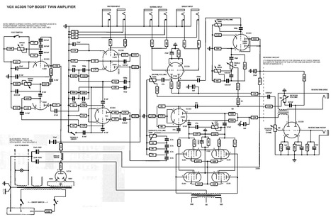 Vox AC30/6 JMI Top Boost Twin Amplifier schematics | DIY Music & electronics | Scoop.it