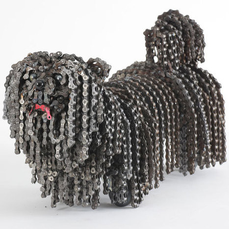 Dog sculptures made of bicycle chains and parts by Nirit Levav Packer - Telegraph   celebrity pets   Scoop.it