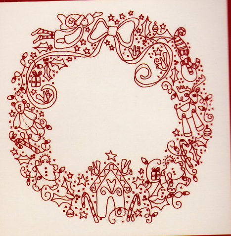Christmas Treasures Wreath - redwork stitchery kit from Rosalie Quinlan | redwork | Scoop.it