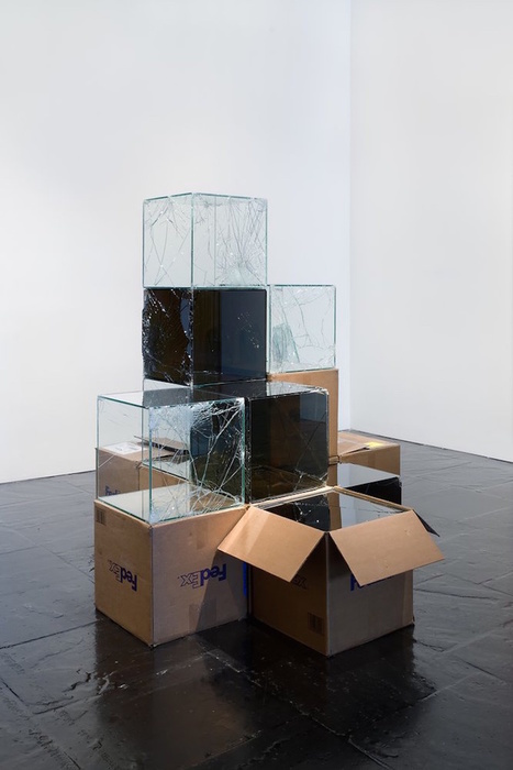 These shatterproof glass cube sculptures show you what happens to x-mas gifts in the mail | glass sculpture | Scoop.it