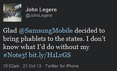T-Mobile CEO uses his iPhone to tweet praise for Galaxy Note 3 | Tech | Scoop.it