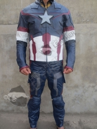 Avengers 2 Captain America Age of Ultron Costume Replica suit captain America full leather cosplay | movie leather jackets | Scoop.it