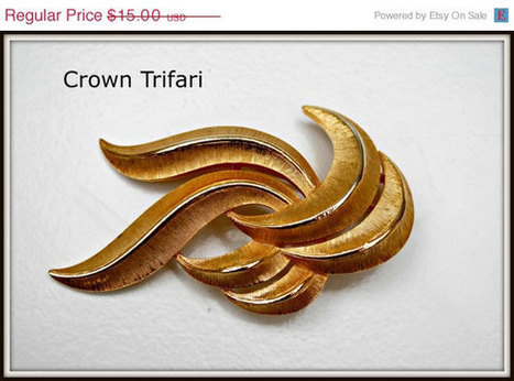 spring Vintage Crown Trifari Goldtone swirl Brooch | serendipity treasures | Scoop.it