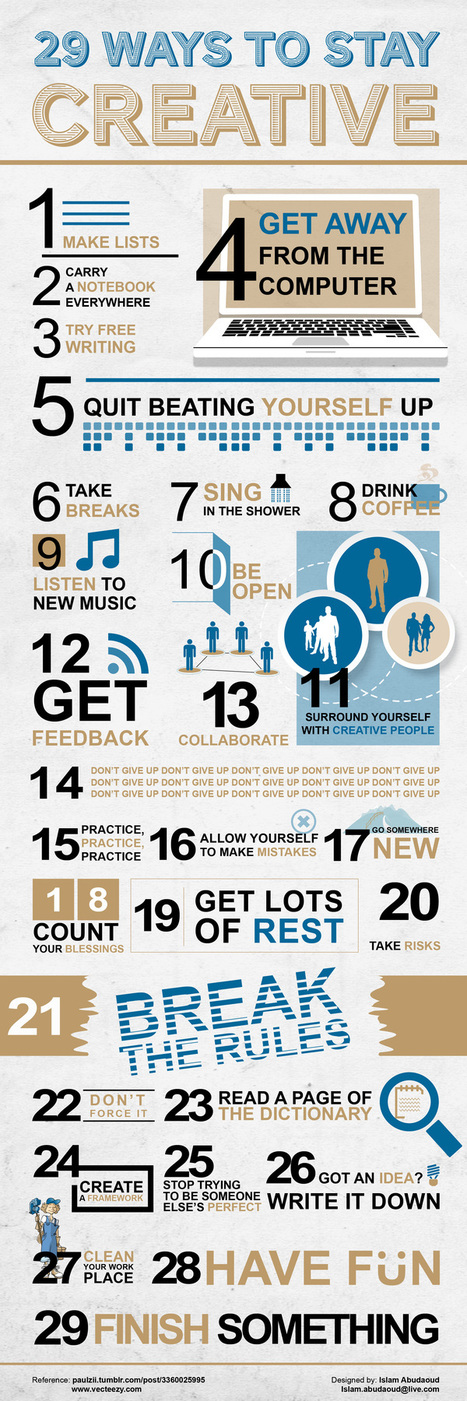 Top 29 Best Ways to Stay Creative in Life Inspirational | All Infographics | Art - Craft - Design- Net | Scoop.it