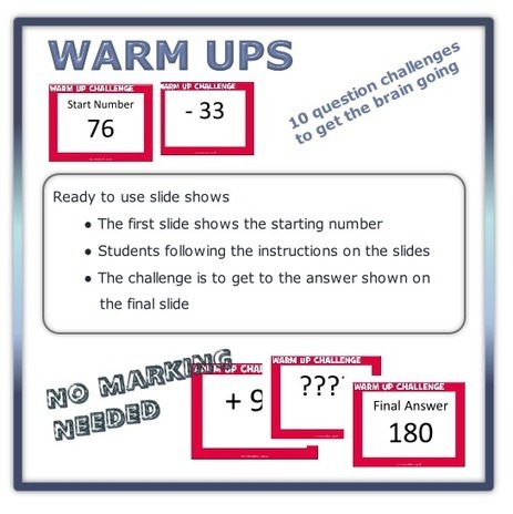 I like these WARM-UPS / Starters from MathsBox | Mathematics Education | Scoop.it