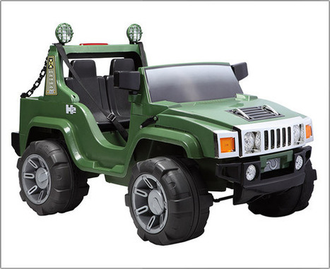 Hummer x 2 Seat - Green - A26 [ Hummer Style 2 Seater Jeep - Green | Kids 4x4 Riding Jeep | Scoop.it