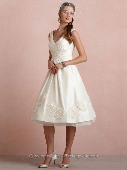 A-line V-neck Taffeta Tea-length Flowers Ivory Wedding Dresses   2014 wedding dress online   Scoop.it