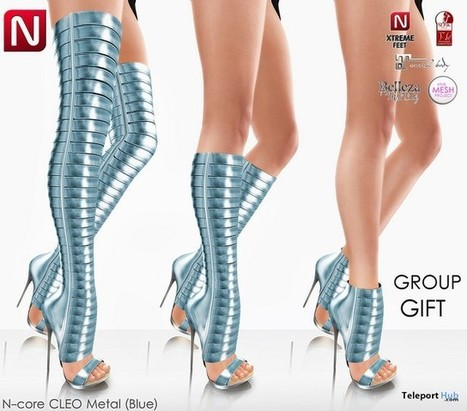 Cleo Metals Blue High Heel Boots Group Gift by N-CORE | Teleport Hub - Second Life Freebies | Second Life Freebies | Scoop.it