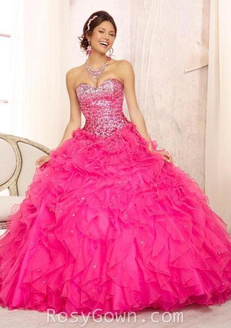 Strapless Beaded Fuchsia Organza Quinceanera Dress | Cheap Prom Dresses | Scoop.it