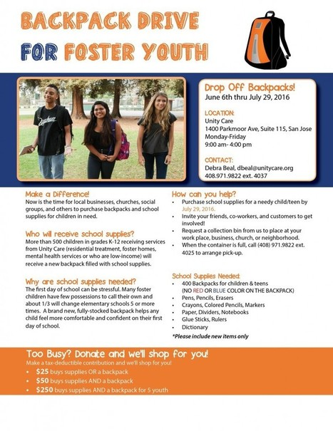 Backpack Drive for Foster Youth // Unity Care | Santa Clara County Events and Resources to Support Youth Development | Scoop.it