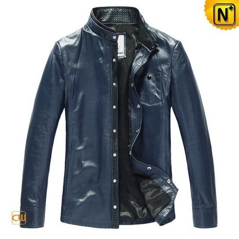 Mens Blue Leather Shirt Leather Jacket CW866105 | Leather Blazer Jacket | Scoop.it