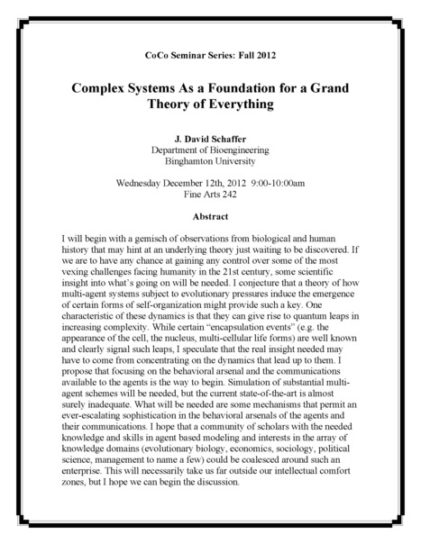 Final CoCo seminar for Fall 2012 on Wed. Dec. 12th, on the Grand Theory of Everything by Dave Schaffer | Center for Collective Dynamics of Complex Systems (CoCo) | Scoop.it