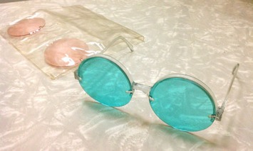 Authentic Vintage Mod 1960s Plastic Italian Sunglasses with Interchangeable Pink & Blue Lensess | Walking On Sunshine | Scoop.it