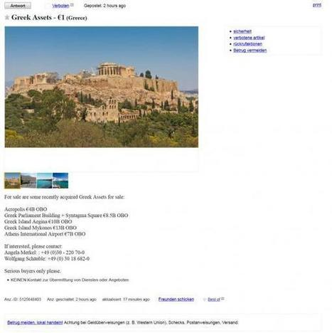 "Germany Wastes No Time, Puts Greece ""For Sale"" On Craigslist 