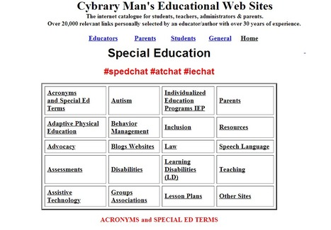 Special Education Resources:  Cybraryman | Specialized Instruction | Scoop.it
