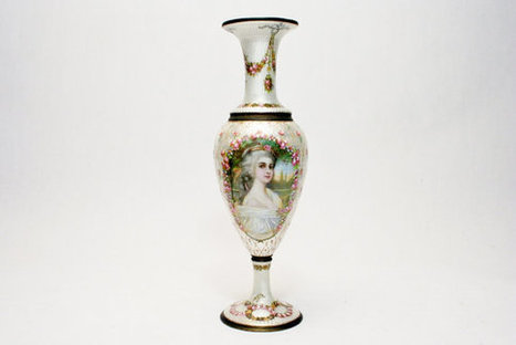 Dorval of France Enamel on Copper Tall Vase Young Lady Signed c 1880 Beaux Arts Galle Lalique Daum Era   S U B L I M E * D E S I G N   Scoop.it