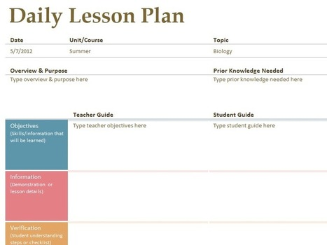 Daily lesson planner - Templates - Office.com   Teaching Tools Sensei   Scoop.it