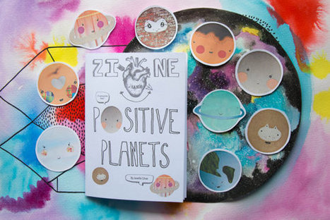 Positive Planets Zine & Sticker Set | Handmade A6 coloured art zine | Space | Gift | Motivational | Self-Care | Love filled | Collage | | Writing and Journalling | Scoop.it