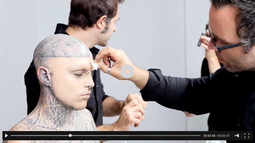 Dermablend behind the scenes with zombie boy rick genest for Dermablend tattoo cover up video