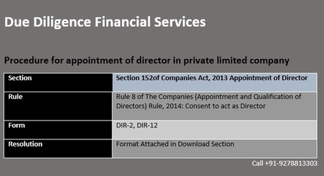 Procedure for appointment of director in private limited company | Due Diligence Financial Services | Company Registration in Delhi | Scoop.it