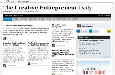 Great Tool: paper.li Personalized Twitter News Publishing & The Creative Entrepreneur Daily [Press][Gratitude] | All Things Paper.li | Scoop.it