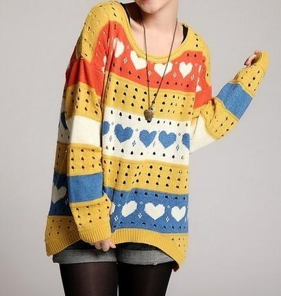 Loose heart sweater knitwear   top   Scoop.it