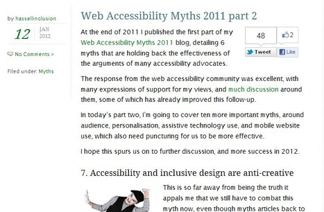 Web Accessibility Myths 2011 part 2 | Inclusive teaching and learning | Scoop.it
