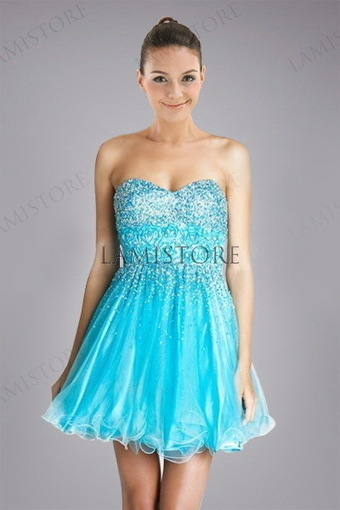Fresh Ruffled Homecoming Dress Features Sweetheart Rosette Bodice in Crystals : Lamistore.com | Lamistore Fashion Prom Dresses | Scoop.it