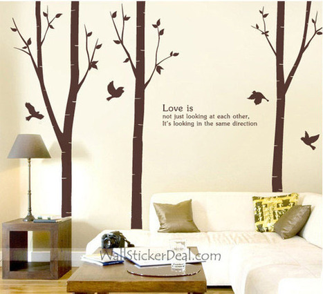 Love Is Not Just Looking At Each Other Birch Tree With Flying Birds Wall Stickers – WallStickerDeal.com   Birds & Animals Wall Stickers   Scoop.it