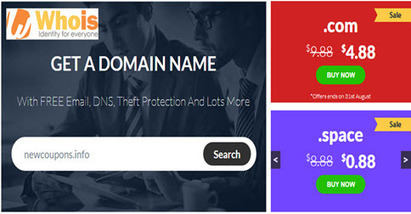 Whois.Com Promotions: $4.88 .Com and Many domains on Sale! | THE BEST COUPON CODES | Scoop.it