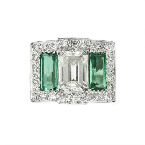 A Art Deco diamond and emerald dress ring - Bentley & Skinner | Bentley And Skinner | Scoop.it