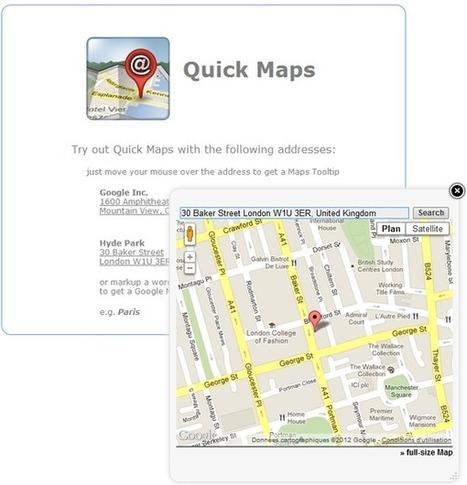 Quick Maps : Prévisualisation rapide d'un lieu sur Google Maps sans sortir de votre page Web   Boîte à outils du Web   Scoop.it