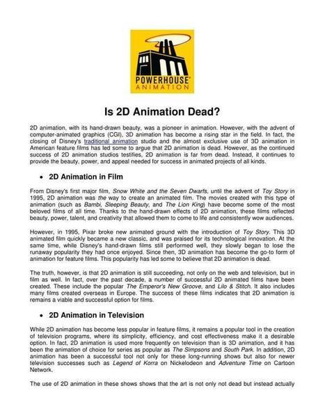 Is 2D Animation Dead? | Animation Studio | Scoop.it