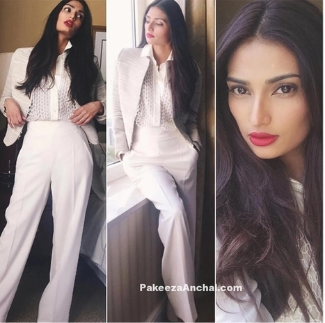 Athiya Shetty in White Jacket and Pant with Lace Blouse | Indian Fashion Updates | Scoop.it