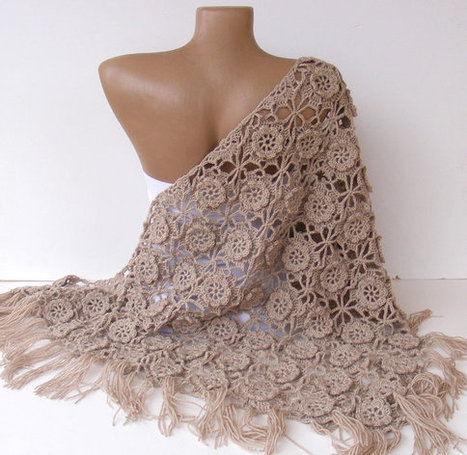 shawl ,women hand crocheted shawl ,beige shawl, Wrap ,Stole ,Shrug ,womens fashion | Knit Ruffled Scarf,multicolor scarf,2013 NEW TREND SCARF,accessories,gifts for her,fashion,long scarf | Scoop.it