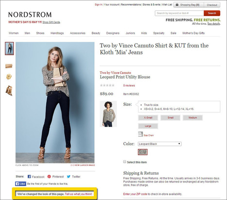 Nordstrom Looks for Customer UX Feedback Ecommerce Outtakes | ECommerce Outtakes | Scoop.it