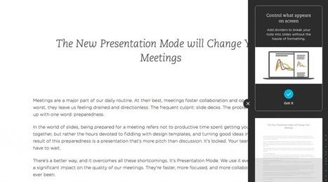 Le nouveau mode Présentation révolutionnera vos réunions | Evernote, gestion de l'information numérique | Scoop.it