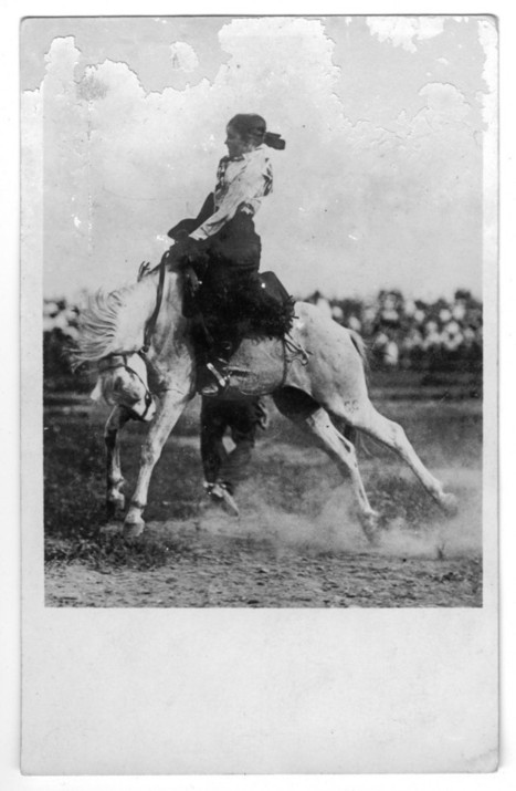 Woman on a bucking bronco, 1920 | Herstory | Scoop.it