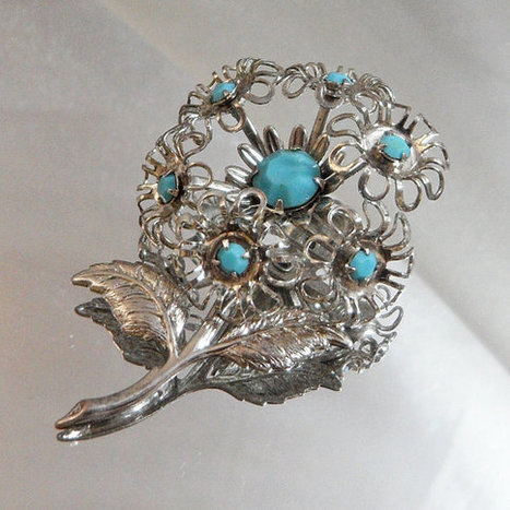 Vintage Turquoise Flower Brooch. Silver Filigree and Faux Turquoise Rhinestone Pin.   I Love Vintage Jewelry   Scoop.it